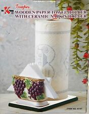 NEW 3D TUSCAN PURPLE GRAPES WOODEN PAPER TOWEL & CERAMIC NAPKIN HOLDER STAND