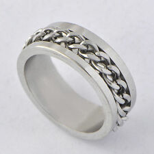 Classic Mens stainless steel Chain Ring punk ring Size 10 silver Band Ring