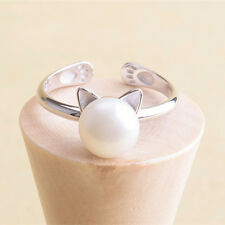 1Pc Women Silver Imitation Pearl Opening Cat Index Finger Ring Jewelry