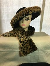 Vintage Ladies Hat Wool with Faux Leopard Fur & Scarf Combo