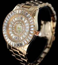 38mm Rose Gold Finish Iced Out Bling CZ Bezel Baguette Womens Wrist Quartz Watch