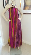 Monsoon Gretian Style Maxi Dress Gold Brown Pink Maxi Size 8-10