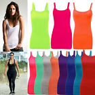 New Women's Ribbed Stretchy Summer Ladies Vest Strap Top T-Shirt Rib Strap 6-16