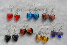 FREE wholesale lot 6Pairs Flower Heart murano glass bead Silver Plated earring