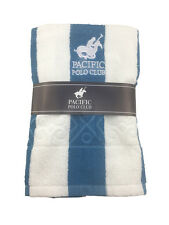 Pacific Polo Club Blue White Strip 30X60 Cabana Pool Beach Towel