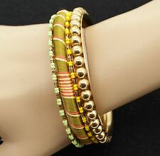 "R.J. Graziano Goldtone Bead & Fabric 8"" Bangle Bracelets Set of 4"