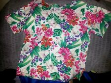 Women's MultiFloral Cotton Knit Tee Blouse Jewel Neckline Size M/L* $12.00