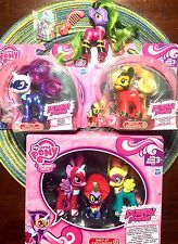 My Little Pony Power Ponies 6 Figure Gift Set LOT Necklace Twilight Rarity Spike