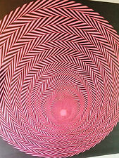 vintage psychedelic blacklight poster spiral illusion pink sphere circle 1970's