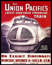 UNION PACIFIC HIGH SPEED STREAMLINE TRAIN USA 8X10 VINTAGE POSTER REPRO FREE S/H