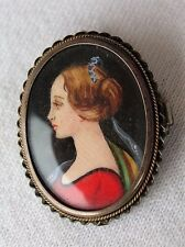 Vintage 800 Silver Frame Miniature Mini Hand Painted Lady Portrait Pin Pendant