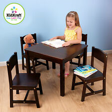 Kidkraft Kids Solid Wood Farmhouse Table and 4 Chairs Set - Espresso 21453