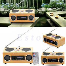 Super Bass Stereo Bamboo Multimedia Speaker TF Card/USB/FM Radio/MP3 Player Hifi