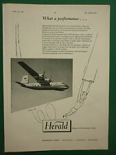 4/1957 PUB HANDLEY PAGE HERALD AIRCRAFT ALVIS / REDIFON FLIGHT SIMULATORS ADVERT