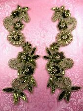 "0183 Mirror Pair Sequin Beaded Appliques Olive Gold 10"" Set Floral"