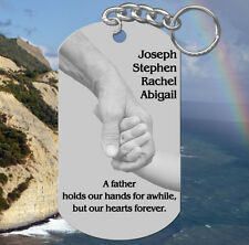 Hands, Fathers Day Keychain Gift! Personalized FREE with kids names! Dad, Daddy