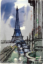 Lithographie French Lithography Vue de Paris La Tour Eiffel Aquarelle Gouache