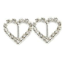 Heart Rhinestone Ribbon Slider, Wedding, Invitations, Card Making x10