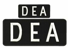 D E A EMBROIDERY PATCH  4X10 & 2X5 hook on back    WHITE   letters