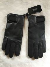 Hugo Boss Kranto 2 Black Leather Wool Lining Mens Gloves Size 9.5 Medium new