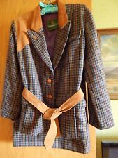 The Scotch House AWESOME  Scottish Wool 2 piece Houndstooth Plaid w/ Suede Trim