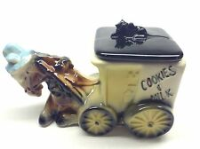Vintage American Bisque #740 Cookies And Milk Donkey Wagon Cart Cookie Jar