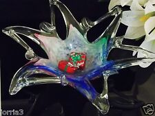 Genuine Murano Art Crystal  Glass Decor / Candy Dish 6 Point Star Made Italy