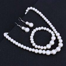 Fashion Crystal Rhinestone Pearl Necklace Bracelet Earrings Set Women Jewelry