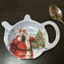 Vintage Style Father Christmas Tea Bag Spoon Rest Plate Holder Melamine