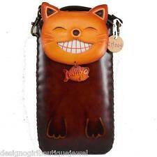 Cat Fish Cell Phone Case Genuine Leather Brown I phone 6 Plus Samsung Bag Pouch