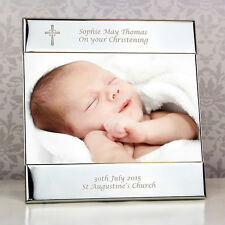 "Personalised Silver Cross Christening Photo Frame 6""x4"" Engraved Picture Gift"