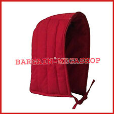 Medieval Renaissance Cotton Padded Coif Arming Cap Red