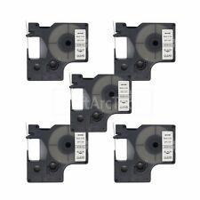 """5pk Black on Clear Label Tape Compatible for DYMO 40910 D1 9mm 3/8"""""""