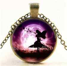 Vintage Fairy And Butterfly Cabochon Glass Bronze Chain Pendant  Necklace
