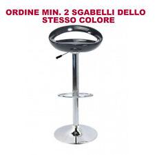 SGABELLO BAR ABS RICICLATO NERO H104, base cromata, girevole, regolabile,HOTEL