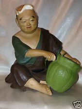 "HAKATA URASAKI JAPAN DOLL FIGURINE MAN BASKET WEAVING 6 5/8"" CHALKWARE"
