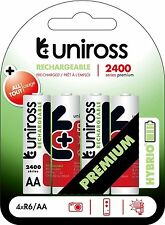Uniross Hybrio Ready Use Pre-charged 4 X AA 2400 NiMH+ Rechargeable Batteries