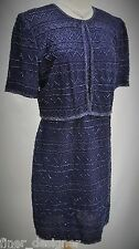 Laurence Kazar dress lace beaded jacket Navy gown Mother Bride Evening SZ PL NWT