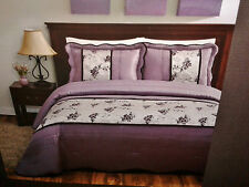 NEW FULL Size Comforter Set Floral Embroidered Purple Satin