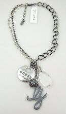 Guess Multi Charm Gunmetal Silver Tone Chain Long Statement Necklace NWT