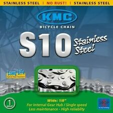 """KMC S10 Stainless Steel Chain Wide 1/8"""" Single Speed 1/2"""" x 1/8"""" 114 Links Pin 8"""
