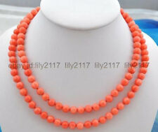 """AAA Beautiful 8 mm natural pink coral bead necklace knotted 36 """""""