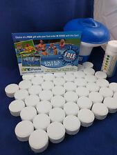 50x20g Chlorine Tablets Pool Hot Tub Spa + Dispenser +  50 Test strips FULL KIT!