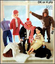 Tejer patrón copia Sindy Muñecas Barbie Action Man Ropa Vestido Falda Pantalones