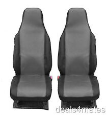 FRONT GREY BLACK FABRIC SEAT COVERS FOR VW CADDY TRANSPORTER T4 T5 MULTIVAN LT