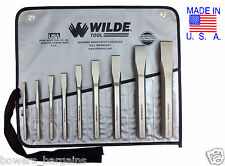 Wilde Tool 9pc Cold Chisel Set MADE IN USA Professional Quality in Roll Case