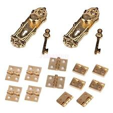 12 Cabinet Closet Mini Hinges & 4 Vintage Door Lock Keys Set for 1/12 Dollhouse