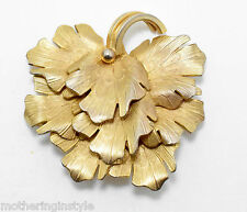 Vintage Signed Coro Gold Tone Flower Textured Leaf Brooch Estate Jewelry  A3E