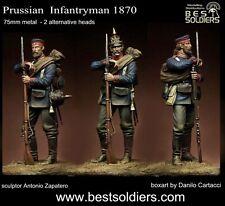 Best Soldiers Prussian Infantryman 1870 2 heads 75mm Model Unpainted Metal Kit