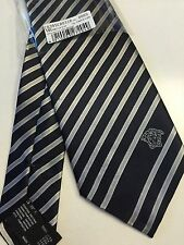 Brand New Genuine Gianni Versace Blue White 100% Silk Made In Italy Tie 105